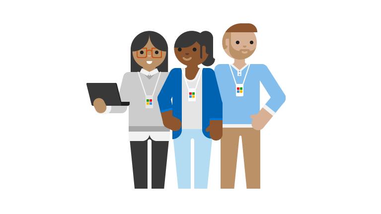 En illustration af supportteknikere