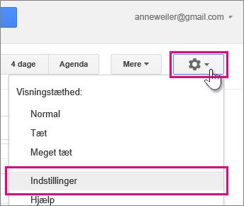 Google Calendar – indstillinger – indstillinger