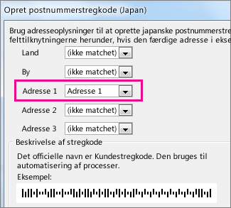 Felter i feltet Opret stregkode for postnummer