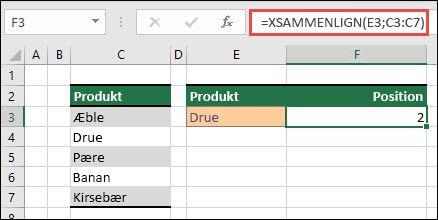 Eksempel på, hvordan du bruger XMATCH til at finde placeringen af et element på en liste