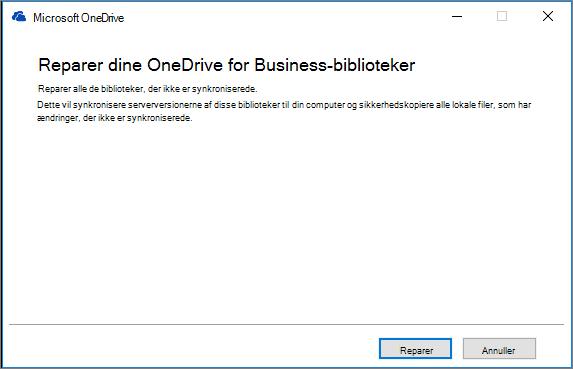 Dialogboks ved reparation af ODB-synkronisering