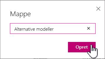 Dialogboksen Mappe med knappen Opret fremhævet