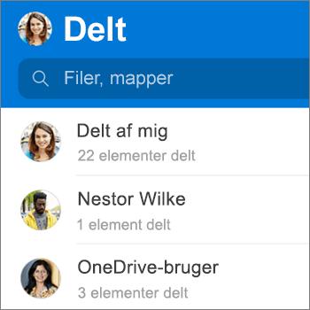 Visningen Delte filer i appen OneDrive til Android