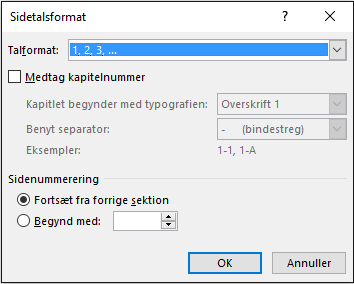 Vælg et format og et starttal for sidetal i Sidetalsformat.