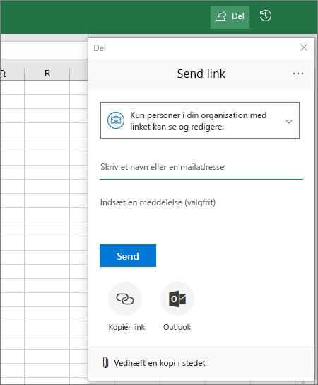 Ikon og dialogboks for Del i Excel