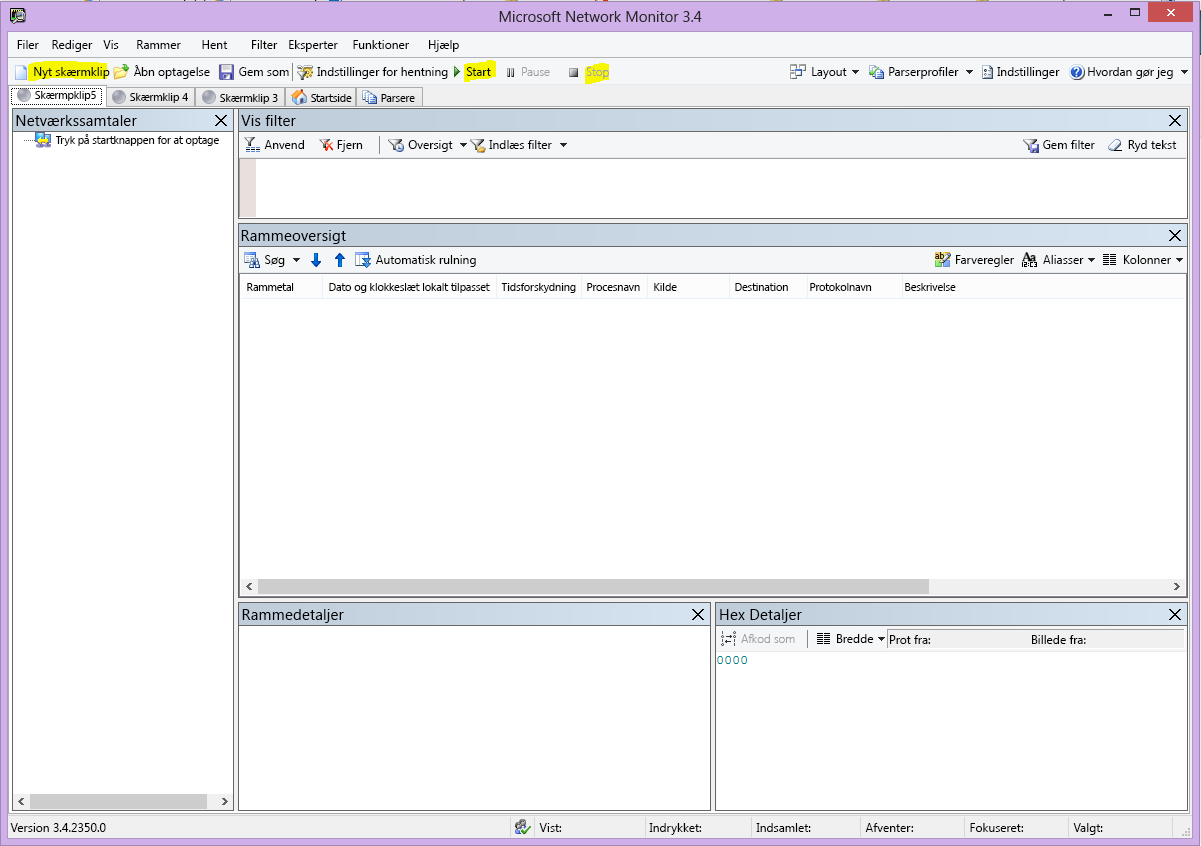 Nemons brugergrænsefladen med knapperne Ny note, Start og Stop fremhævet.