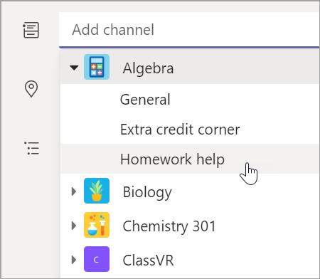 Vælg teamkanal til din klasse.