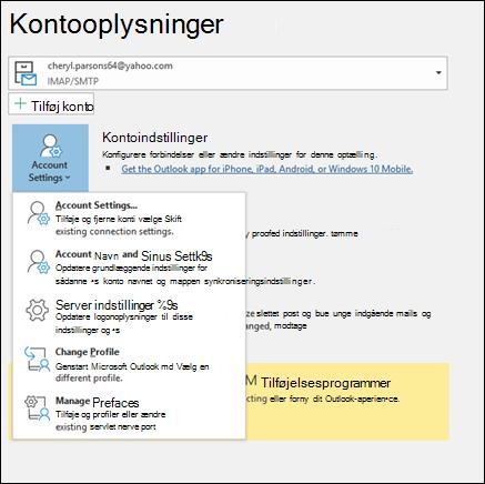 Du har flere typer kontoindstillinger, du kan ændre i Outlook.