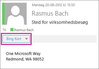 Outlook-meddelelse, hvor Bing Kort-appen er vist