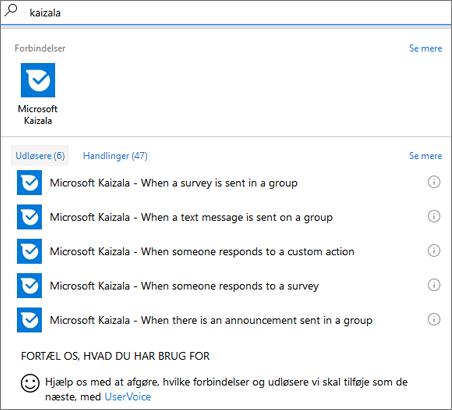 Skærmbillede: Skriv Kaizala, og vælg derefter Microsoft Kaizala – når en person svarer på en undersøgelse