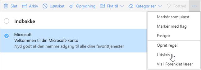 Et skærmbillede af indstillingen Udskriv markeret for en mail.