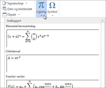 Indsætte ligning