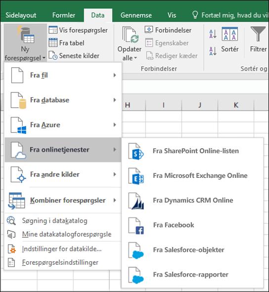 Dialogboksen Excel Power BI-onlinetjenesteforbindelse