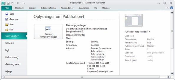 Firmaoplysninger i Backstage-visningen i Publisher 2010