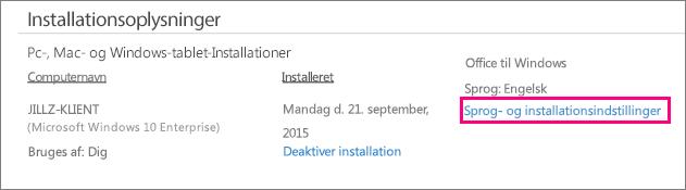 Viser linket til indstillinger for sprog og installation i Office 365-kontoadministration