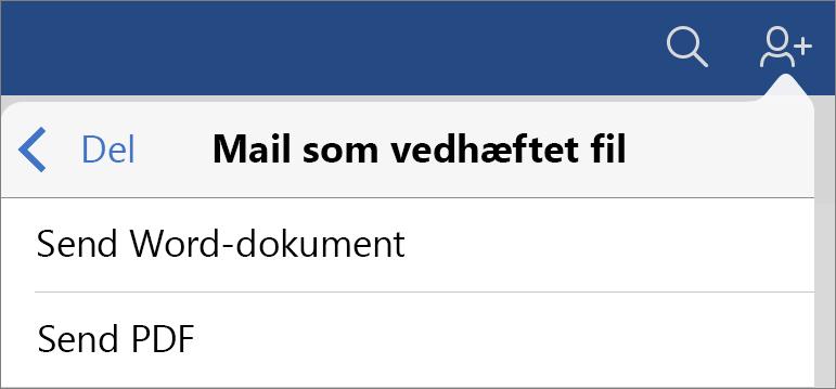 Send som en vedhæftet fil i mail