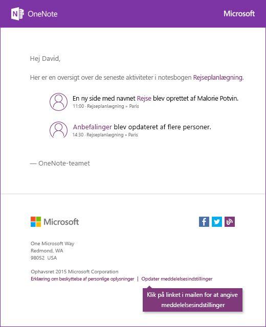 Et eksempel på en mail med en meddelelse via OneNote