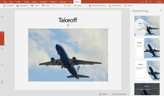 Når du vælger et designforslag, så vises det med det samme i fuld størrelse på sliden