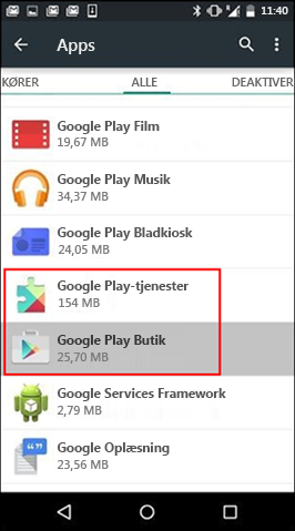 Ryd cache for Google Play Butik-app