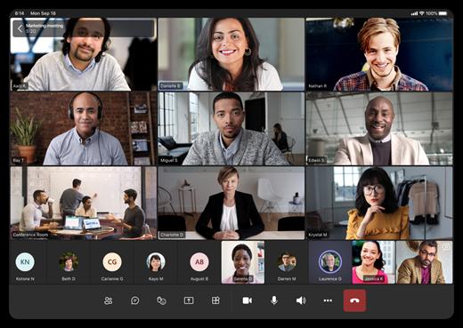 Ni forskellige videostreams på en tabletskærm