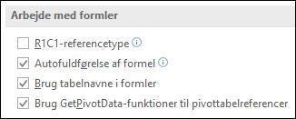 Filer > Indstillinger > Formler > Arbejd med formler > R1C1-referencetype
