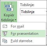 Knap og menu for Kopiér tidslinje i Project