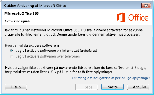 Viser aktiveringsguiden til Office 365
