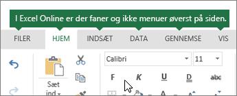 Start, Indsæt, data, Vis faner i Excel til internettet