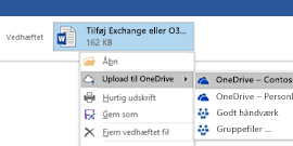 Upload vedhæftede filer fra Outlook til OneDrive