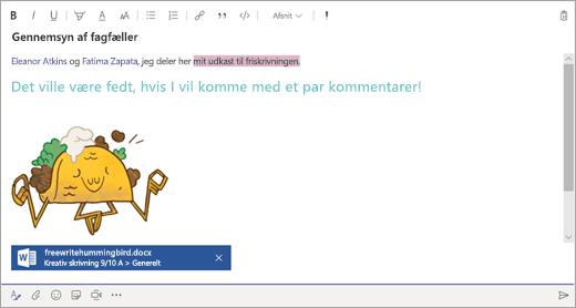 En meddelelse skrevet i skrivefeltet i Microsoft Teams.