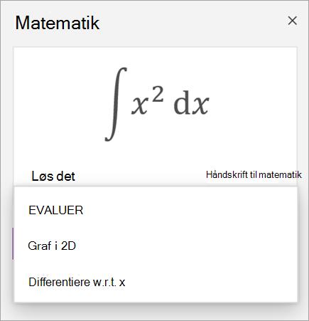 Eksempel på en ligning, der viser løsnings indstillinger for afledte og integraler