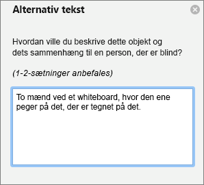Ruden Alternativ tekst lader dig føje alternativ tekst til et billede i Outlook