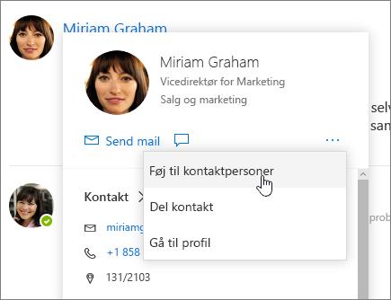 Skærmbillede af åbent visitkort, hvor Føj til kontakter er markeret
