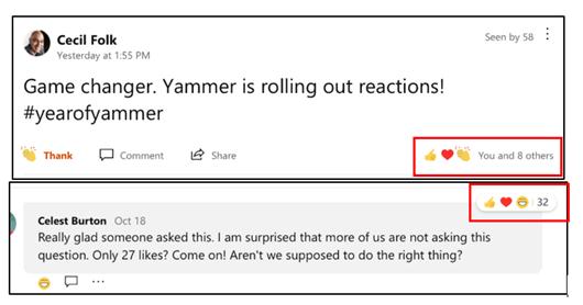 Skærmbillede, der viser de mest populære reaktioner i Yammer