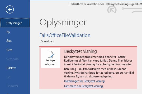 Beskyttet visning af filvalideringsfejl i Office Backstage