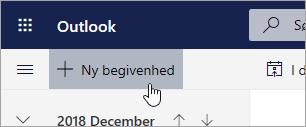 Et skærmbillede af knappen Ny begivenhed