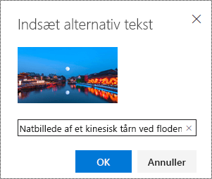 Dialogboksen alternativ tekst i Outlook på internettet.