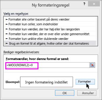 Betinget formatering, dialogboksen Ny regel