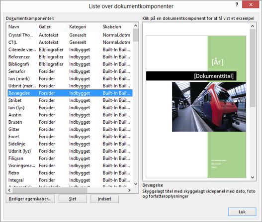 Liste over dokumentkomponenter