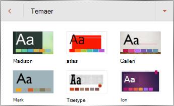 Temaer til slides i PowerPoint til Android.
