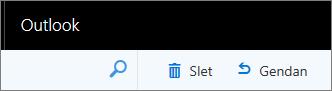 Et skærmbillede viser indstillingerne Slet og gendannelse i Outlook på webværktøjslinjen.