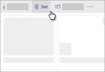 Skærmbillede af sletning af en fil i OneDrive