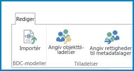 Et skærmbillede af båndet Rediger i Business Connectivity Settings, som viser knappen Import for BDC-modeller og indstillinger for tilladelser.