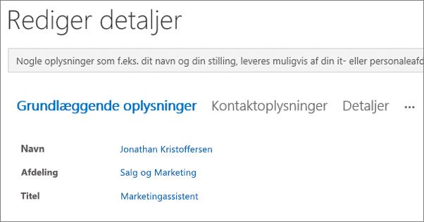 Skærmbillede af siden Rediger detaljer for en bruger i Yammer.