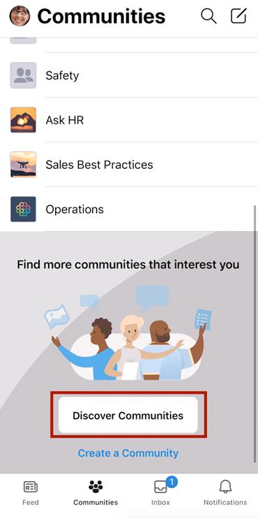 Skærmbillede, der viser, hvordan du finder Yammer-communities på mobil