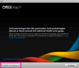 Skærmbillede af Aktivér via telefon i Office til Mac