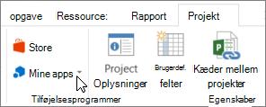 Skærmbillede af en del af fanen projekt på båndet med en markør, der peger på mine Apps. vælge mine Apps for at vælge en senest anvendte app, administrere alle dine apps eller gå til den nye apps Office Store.