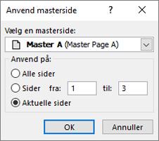 Et skærmbillede viser dialogboksen Anvend masterside.