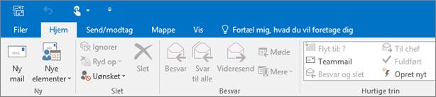 Sådan ser båndet ud i Outlook 2016.