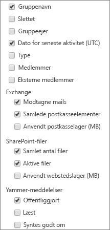 Office 365-grupperapport – vælg kolonner